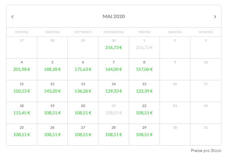 Lieferzeitkalender für CNC-Teile