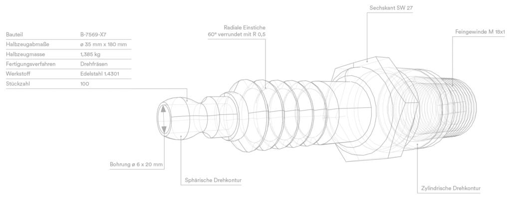 CAD Drehteil Darstellung